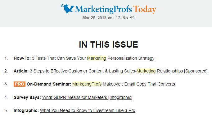 Content Marketing Newsletter - MarketingProfs