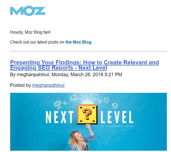 Content Marketing Newsletter - Moz