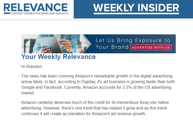 Content Marketing Newsletter - Relevance