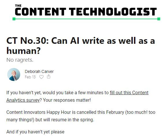 The Content Technologist Newsletter