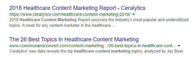 healthcare marketing campaign SERP